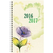 August 2016 - July 2017, Brownline® Daily Academic Planner, 8 x 5, Purple Flower Watercolor (CA201PT.ASX)