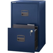 Bisley Two Drawer Steel Home or Office Filing Cabinet, Navy, Letter/A4 (FILE2-NV)