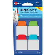 "Avery® Mini Ultra Tabs™, Primary (Red, Blue, Orange, Green), 1"" x 1-1/2"", Pack of 80 Repositionable, Two-Side Writable Tabs"