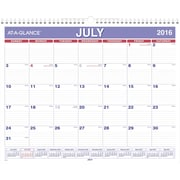 "2016-2017 AT-A-GLANCE® Academic Monthly Wall Calendar, 12 Months, July Start, 15"" x 12"", Blue/White (AY828)"
