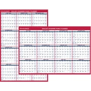 "2016-2017 AT-A-GLANCE® Vertical/Horizontal Academic Erasable Wall Calendar, 12 Months, July Start, Red/White, 48"" x 32"""