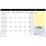 "2016-2017 AT-A-GLANCE® QuickNotes® Academic Compact Monthly Desk Pad, 13 Months, July Start, 17 3/4"" x 10 7/8"", Blue/Yellow"