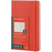 2016-2017 Moleskine Weekly Notebook 18M Large (5 x 8.25) Hard Cover Coral Orange (894202)