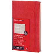 2016-2017 Moleskine Weekly Planner Horizontal 18M Large (5 x 8.25) Hard Cover Scarlet Red (893427)