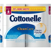 Kleenex® Cottonelle® Gentle Clean Care* Bath Tissue, 1-Ply, 4 Double Rolls/Pack (38557)