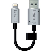 Lexar 64 GB USB 3.0 Jump Drive, Black & Silver (LJDC20I-64GBBNL)