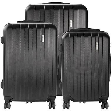 Bugatti 3-Piece Lightweight Hard Case Luggage Set, Black