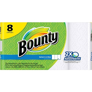 Bounty Select-A-Size Paper Towels, White, 8 Regular Rolls (PGC 88187/81531)