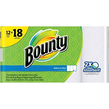 Bounty® Select-A-Size™ Paper Towels,  12 Giant Rolls = 18 Regular Rolls (88212/81440)