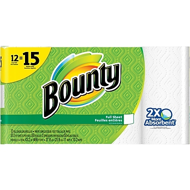 Bounty® Paper Towels, White, 12 Large Rolls = 15 Regular Rolls (88197)