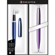 Sheaffer VFM Neon Blue Fountain Pen and Luminous Lavender Ballpoint Pen Set