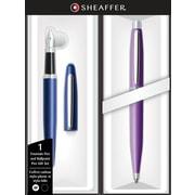 Sheaffer VFM Neon Blue Fountain Pen and Luminous Lavender Ballpoint Pen Set