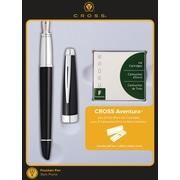 Cross Aventura Black Fountain Pen Gift Set with Ink Cartridges