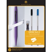 Cross Tech2 Metallic Purple Stylus Ballpoint Pen Gift Set with Refills and Replacement Stylus