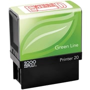 2000PLUS Green Line Self inking Stamp, Entered, Red Ink by