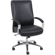 Global BarcaLounger Leather Executive Office Chair, Fixed Arms, Black (GF-9105H)