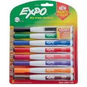 Expo® Magnetic Dry Erase Markers with Eraser, Fine Tip, Assorted, 8/pk (1944748)