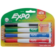 Expo® Magnetic Dry Erase Markers with Eraser, Fine Tip, Assorted, 4/pk (1944746)