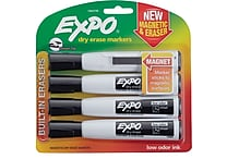 Expo® Magnetic Dry Erase Markers with Eraser, Chisel Tip, Black, 4/pk (1944729)