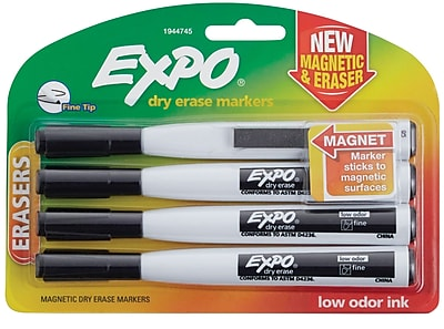 Expo Magnetic Dry Erase Markers with Eraser Fine Tip Black 4 pk 1944745