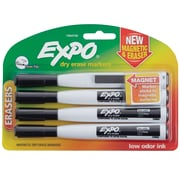 Expo® Magnetic Dry Erase Markers with Eraser, Fine Tip, Black, 4/pk (1944745)