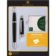 Cross Bailey Black Lacquer Fountain Pen Gift Set with Ink Cartridges