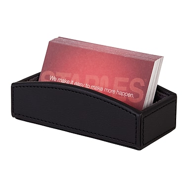 Staples Business Card Holder Faux Leather Black