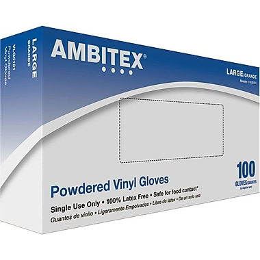 Ambitex Disposable Gloves, Vinyl, Large, Clear, Powdered, 1,000/Carton