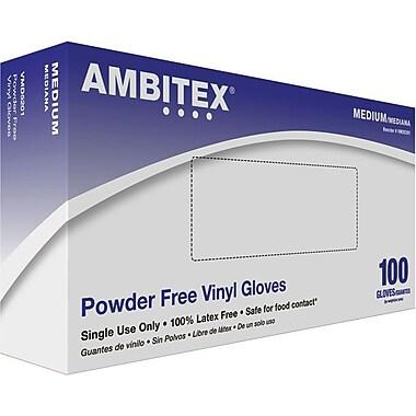 Ambitex Disposable Gloves, Vinyl, Medium, Clear, Powder-Free, 1,000/Carton