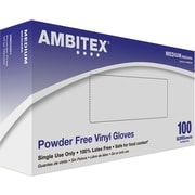 Ambitex Disposable Gloves, Vinyl, Medium, Clear, Powder-Free, 1,000/Carton