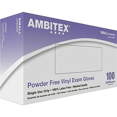 Ambitex Vinyl Exam Glove, Powder-Free, Smooth Finish, Small, 1,000/Carton