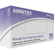 Ambitex Vinyl Exam Glove, Powder-Free, Smooth Finish, Small, 1,000/Carton
