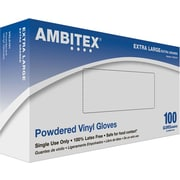 Ambitex Disposable Gloves, Vinyl, Extra-Large, Clear, Powdered, 1,000/Carton