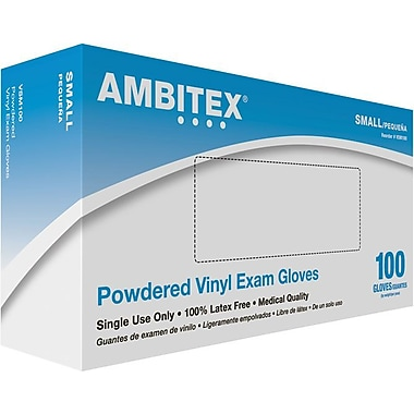 Ambitex Vinyl Exam Glove, Powdered, Smooth Finish, Small, 1,000/Carton