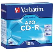 Verbatim® DataLifePlus 700MB CD-R, Slim Case, 10/Pack