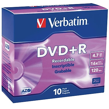 Verbatim 95097 4.7 GB DVD-R Slim Jewel Case, 10/Pack