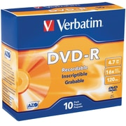 Verbatim 95099 4.7 GB DVD-R Slim Jewel Case, 10/Pack