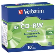 Verbatim® CD-RW Rewritable Disc, 700 MB, Slim Jewel Case, 10/Pack (95170)
