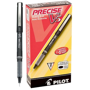 Pilot Precise V5 Premium Rolling Ball Stick Pens, Extra Fine Point, Black, 12/Pack (35334)