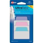 "Avery® Multiuse Ultra Tabs™, Pastels (Blue, Pink, Purple), 2"" x 1-1/2"", Pack of 24 Repositionable, Two-Side Writable Tabs"