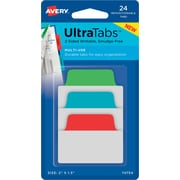 "Avery® Multiuse Ultra Tabs™, Primary (Red, Blue, Green), 2"" x 1-1/2"", Pack of 24 Repositionable, Two-Side Writable Tabs"