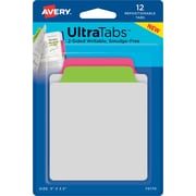 "Avery® Tab & Note Ultra Tabs™, Neon (Pink, Green), 3"" x 3-1/2"", Pack of 12 Repositionable, Two-Side Writable Tabs"