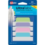 "Avery® Margin Tab Ultra Tabs™, Pastels (Blue, Pink, Purple, Green), 2-1/2"" x 1"", 24 Pack Repositionable, Two-Side Writable Tabs"
