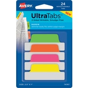 "Avery® Margin Tab Ultra Tabs™, Neon (Pink, Green, Orange, Yellow), 2-1/2"" x 1"", 24 Pack Repositionable, Two-Side Writable Tabs"