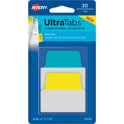 "Avery® Big Tab Ultra Tabs™, Primary (Yellow, Blue), 2"" x 1-3/4"", Pack of 20 Repositionable, Two-Side Writable Tabs"
