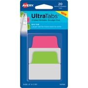 """Avery® Big Tab Ultra Tabs™, Neon (Pink, Green),  2"""" x 1-3/4"""", Pack of 20 Repositionable, Two-Side Writable Tabs"""