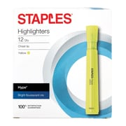 STAPLES® HYPE®  TANK HIGHLIGHTERS, CHISEL, YELLOW 12PK (29203)