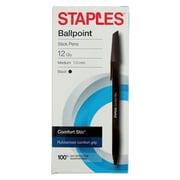 Staples® Comfort Stic® Ballpoint Pens Med 1.0MM, Black 12PK (29236)
