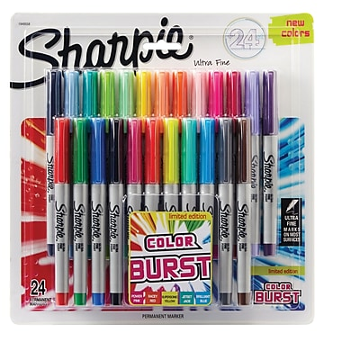 Sharpie® Color Burst Ultra Fine Point Permanent Markers, Assorted, 24/Pack (1927351)