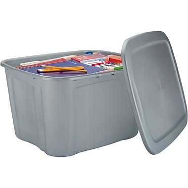 staples 18 gallon plastic flat lid tote silver staples. Black Bedroom Furniture Sets. Home Design Ideas